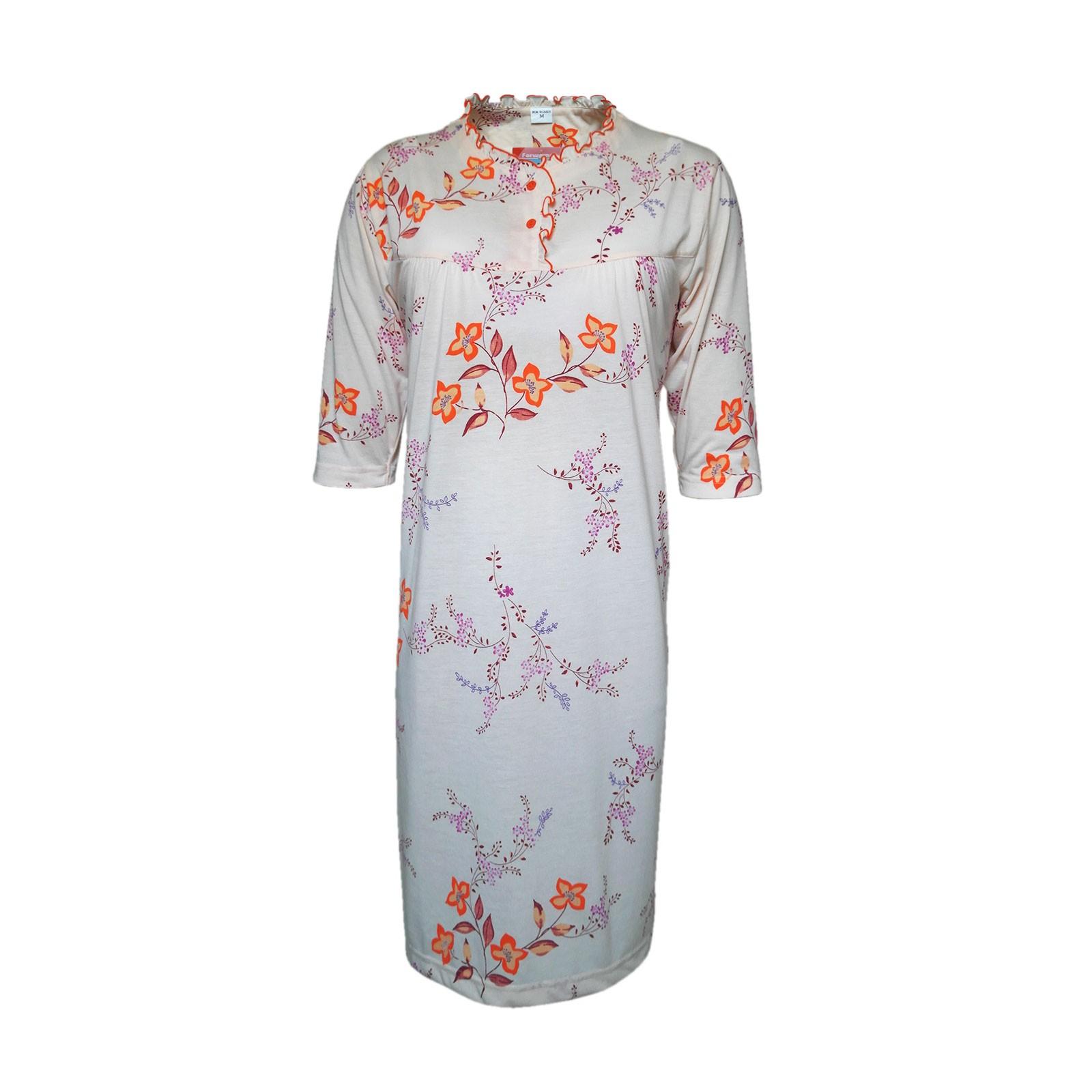 Damen Nachthemd, Schlafshirts mit Halbärmeln, 100% Baumwolle Orange