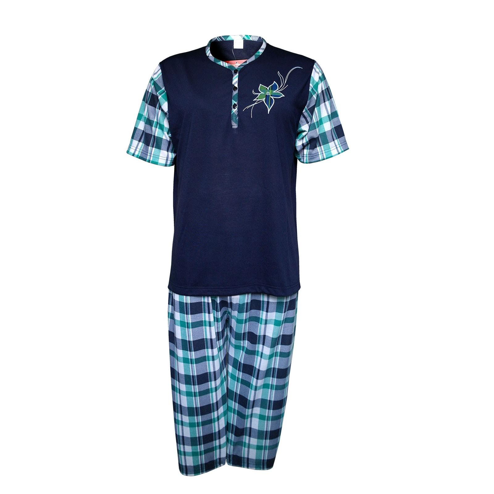 Kurzarm Damen Capri-Schlafanzug im Karolook 100% Baumwolle - Top modische Farben Dunkelblau