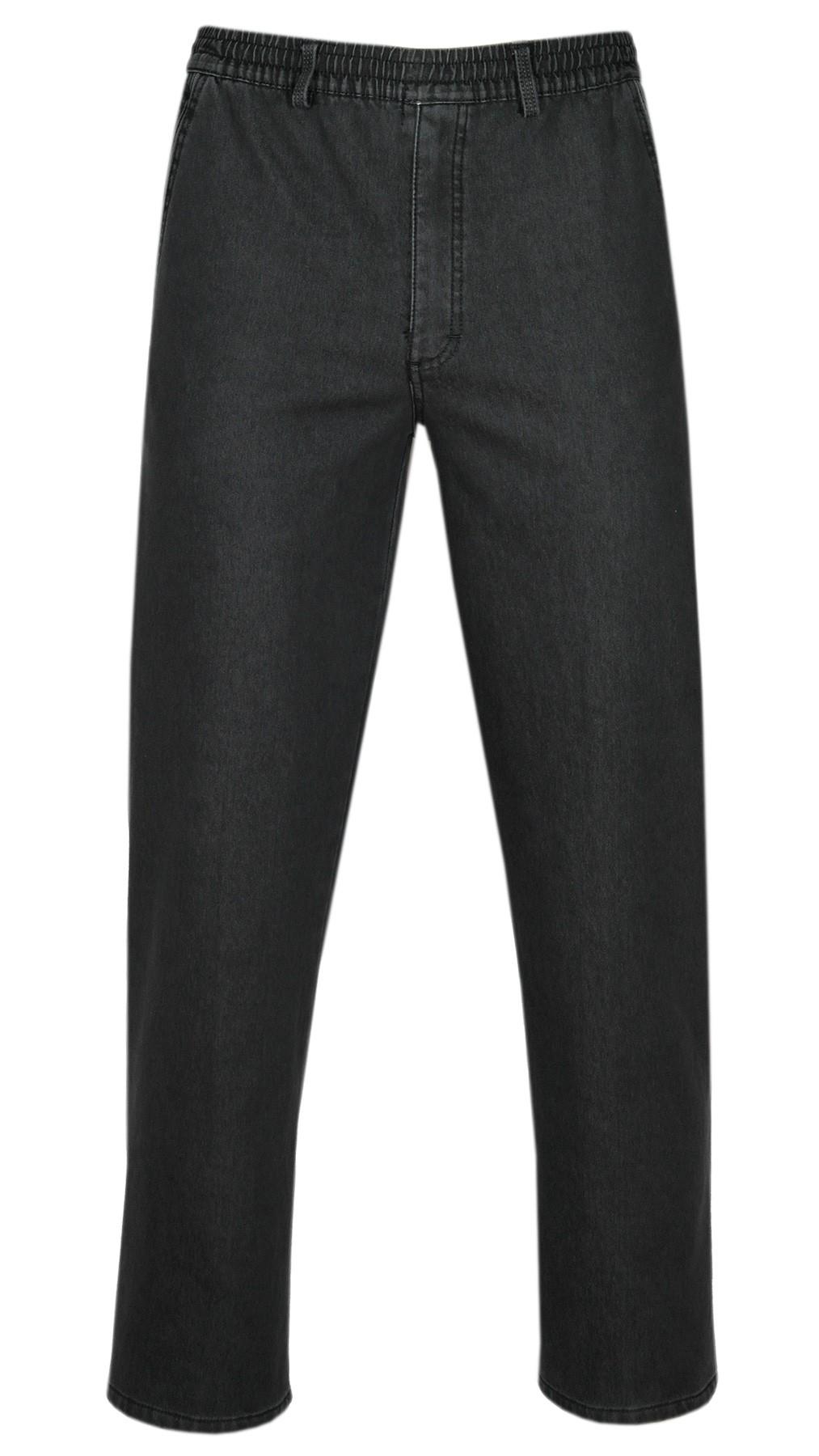 tretch-Thermo-Jeans Schlupfhose ohne Cargo-Taschen - Schwarz