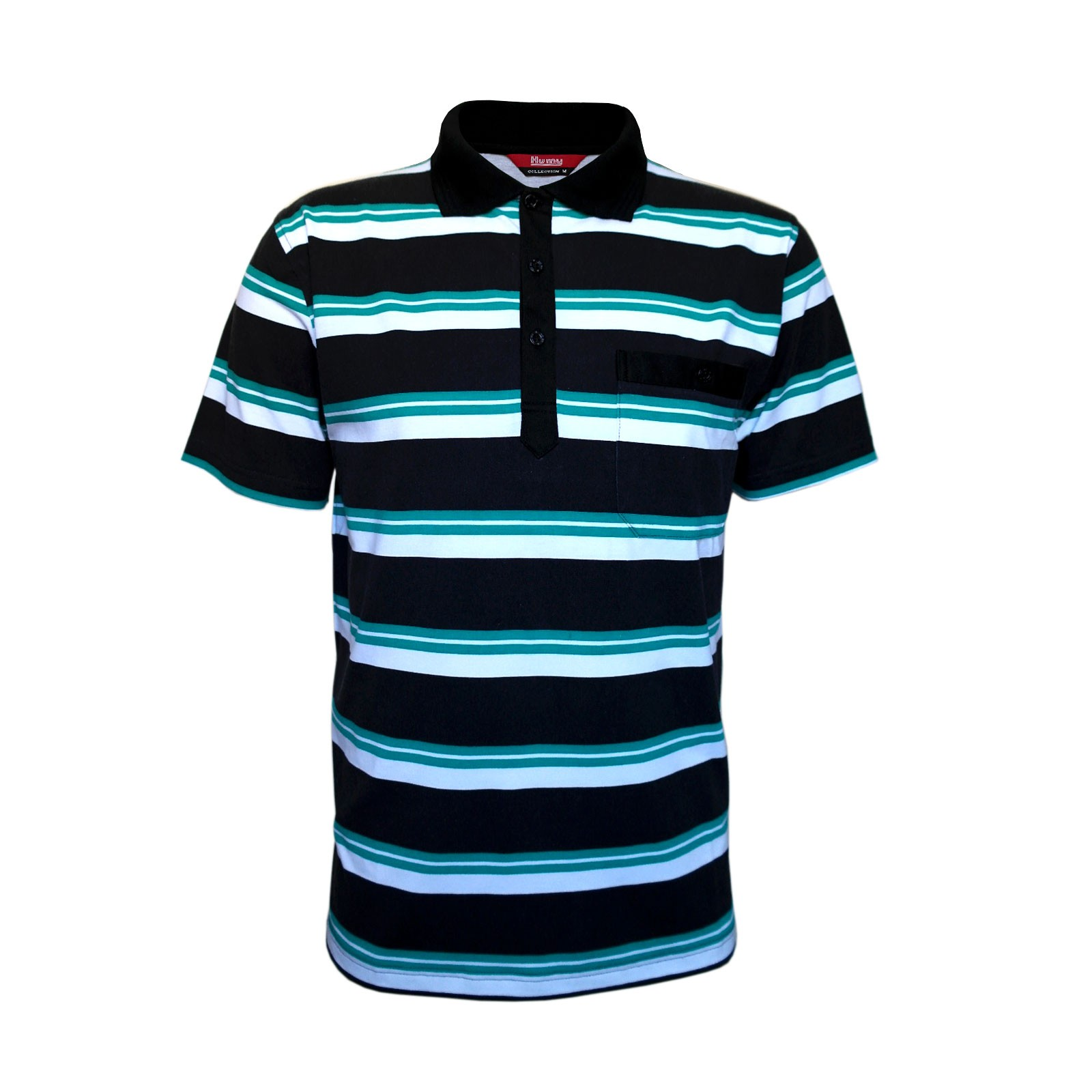 Kurzarm Poloshirts, Herren Polohemden im Ringelook Baumwollmischung M/3XL Schwarz