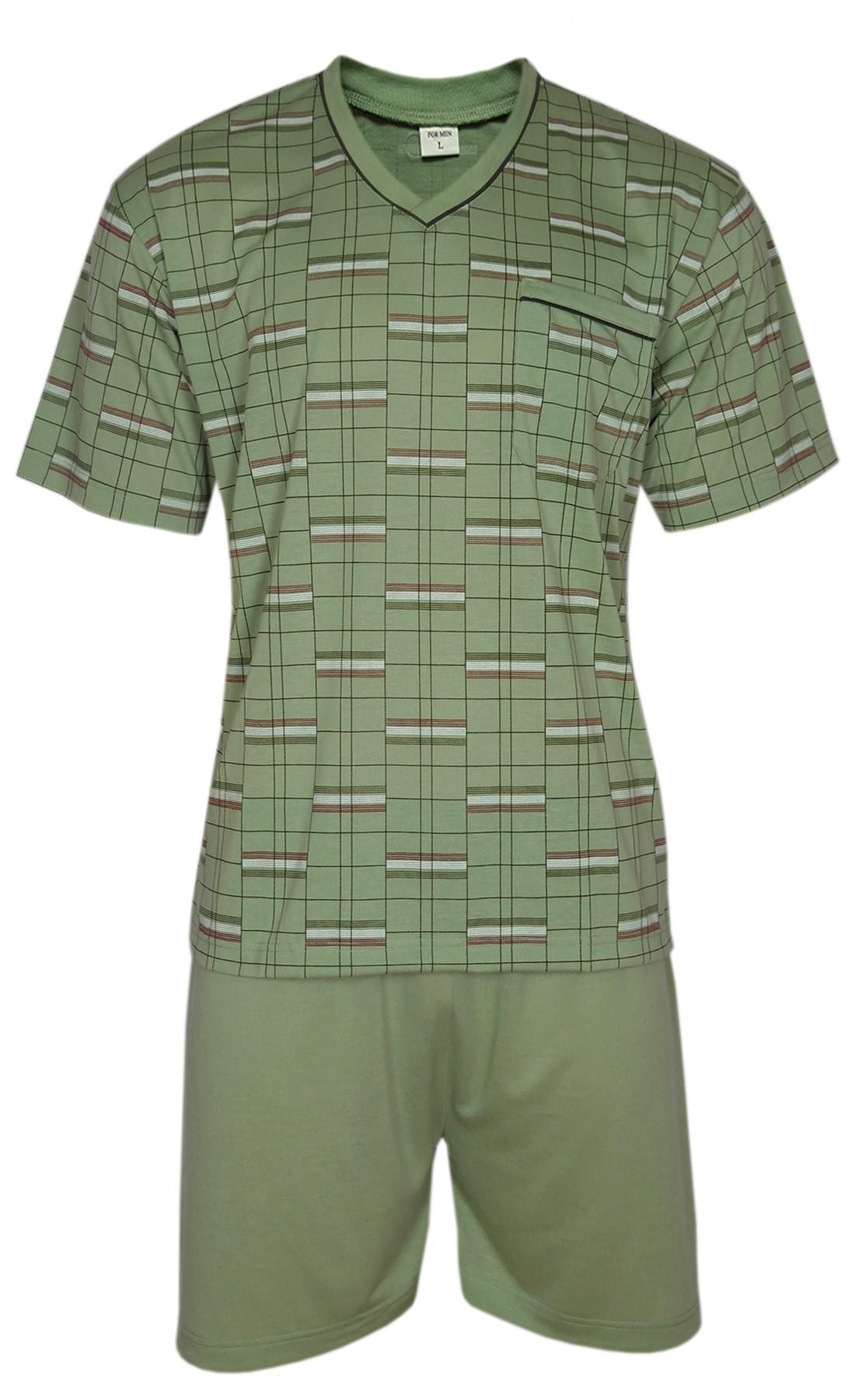 FORMEN - Kurzer Herrenschlafanzug, Pyjama mit Shorty 100% Baumwolle - Oliv
