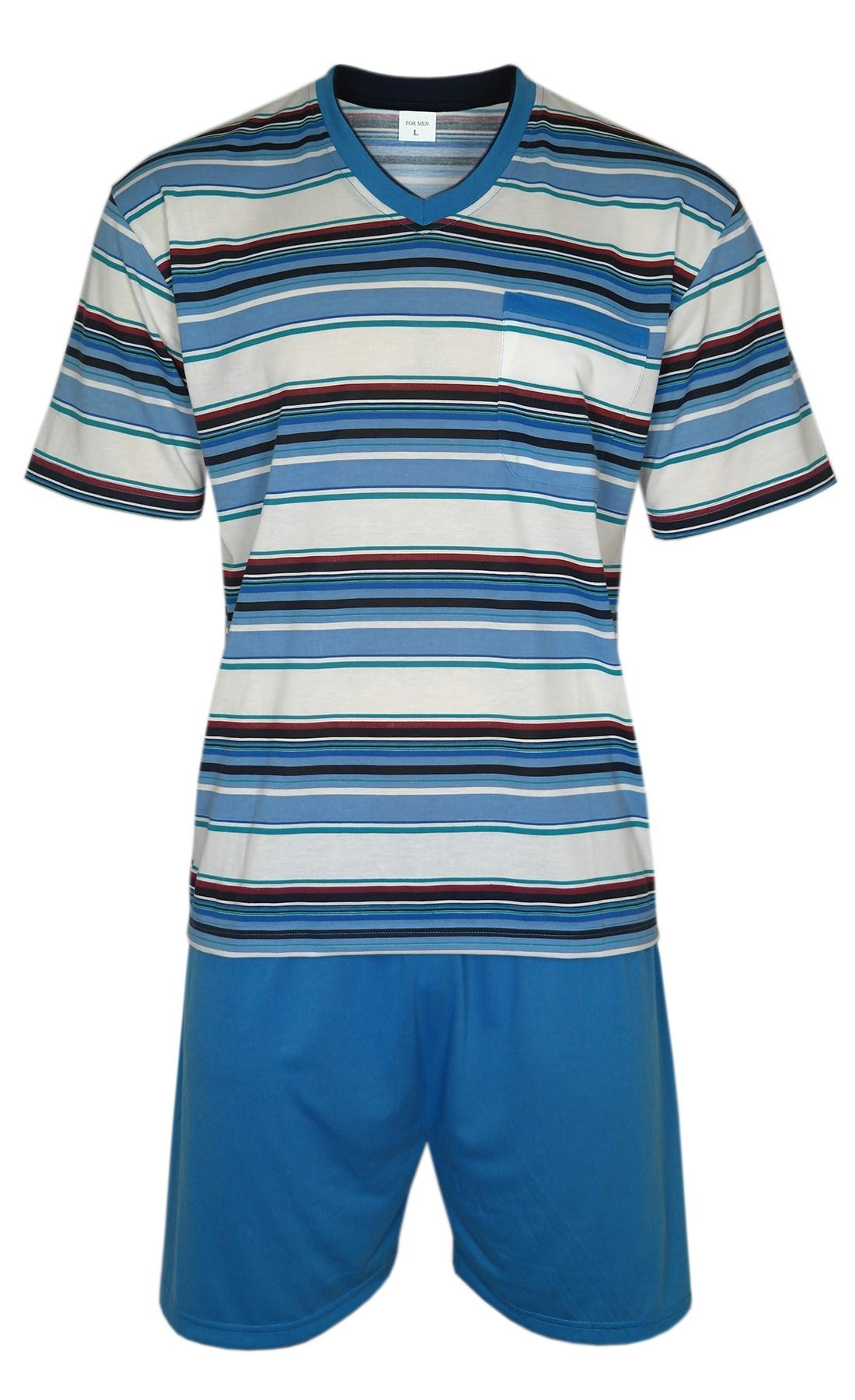 urzer Herren Pyjama/Schlafanzug im Ringellook - Blau