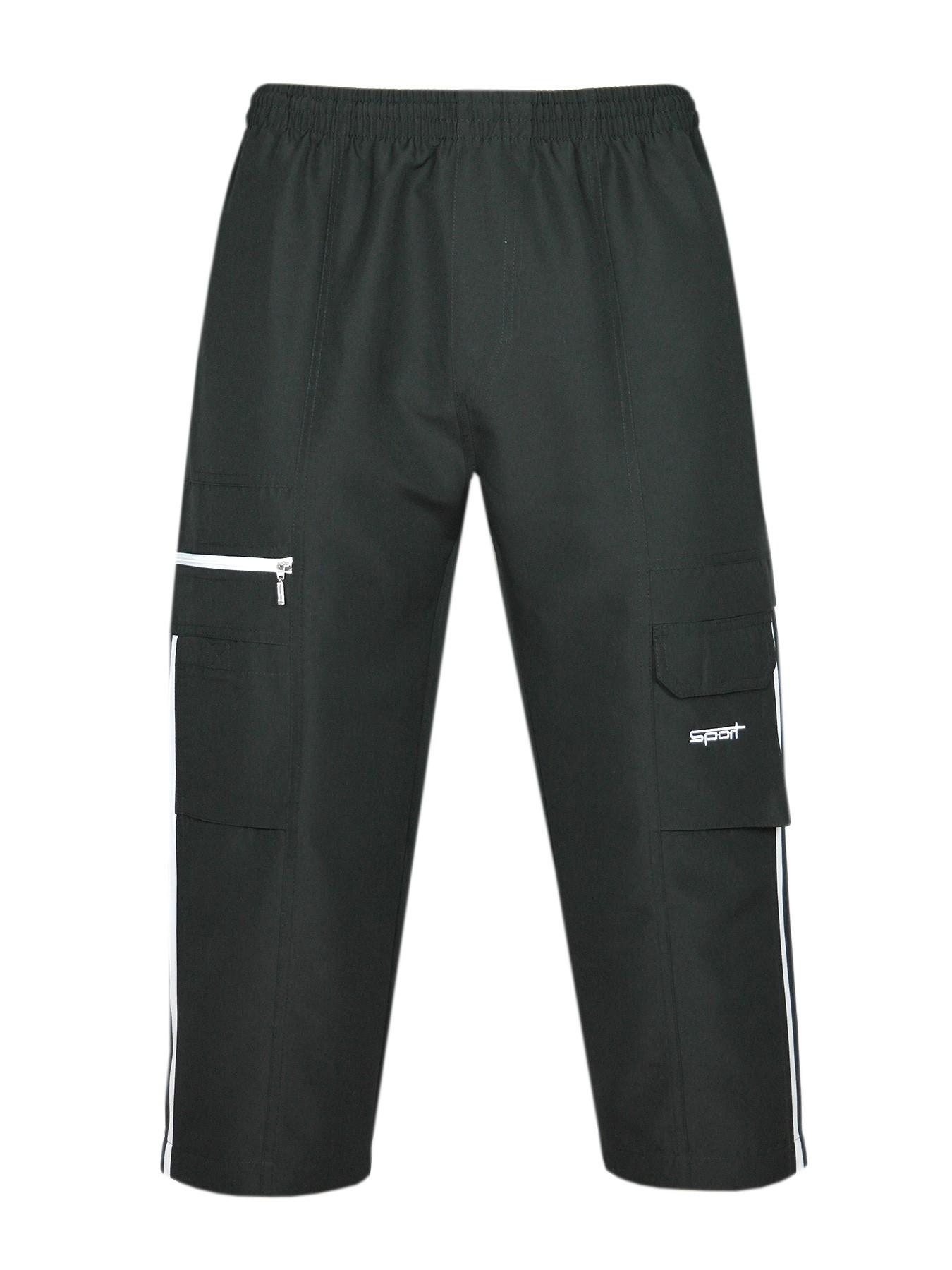 Bermuda Microfaser Shorts Dreiviertelhose Herren - Black