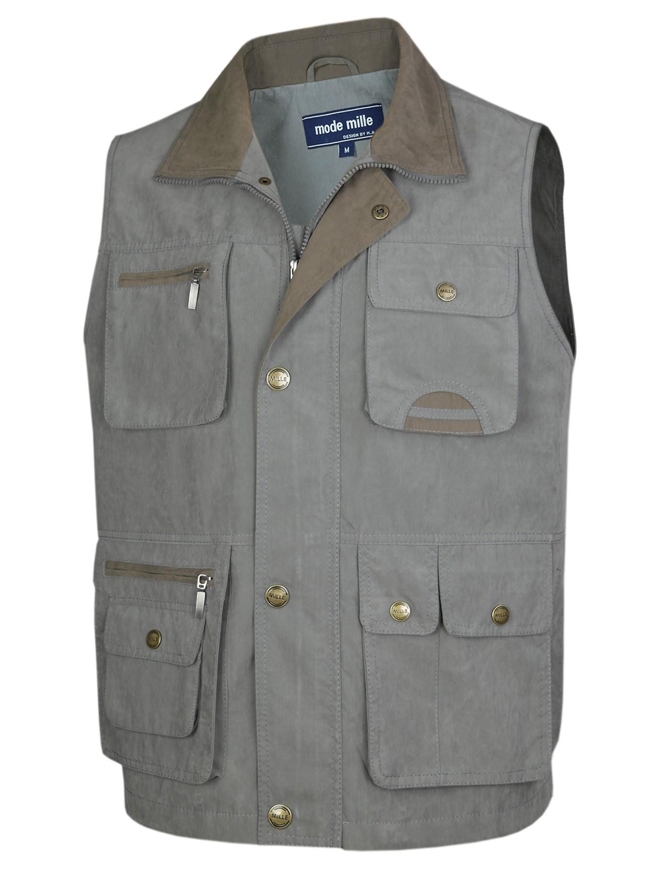 Herren Weste Outdoor Funktions-Weste Multi Taschen - Grau