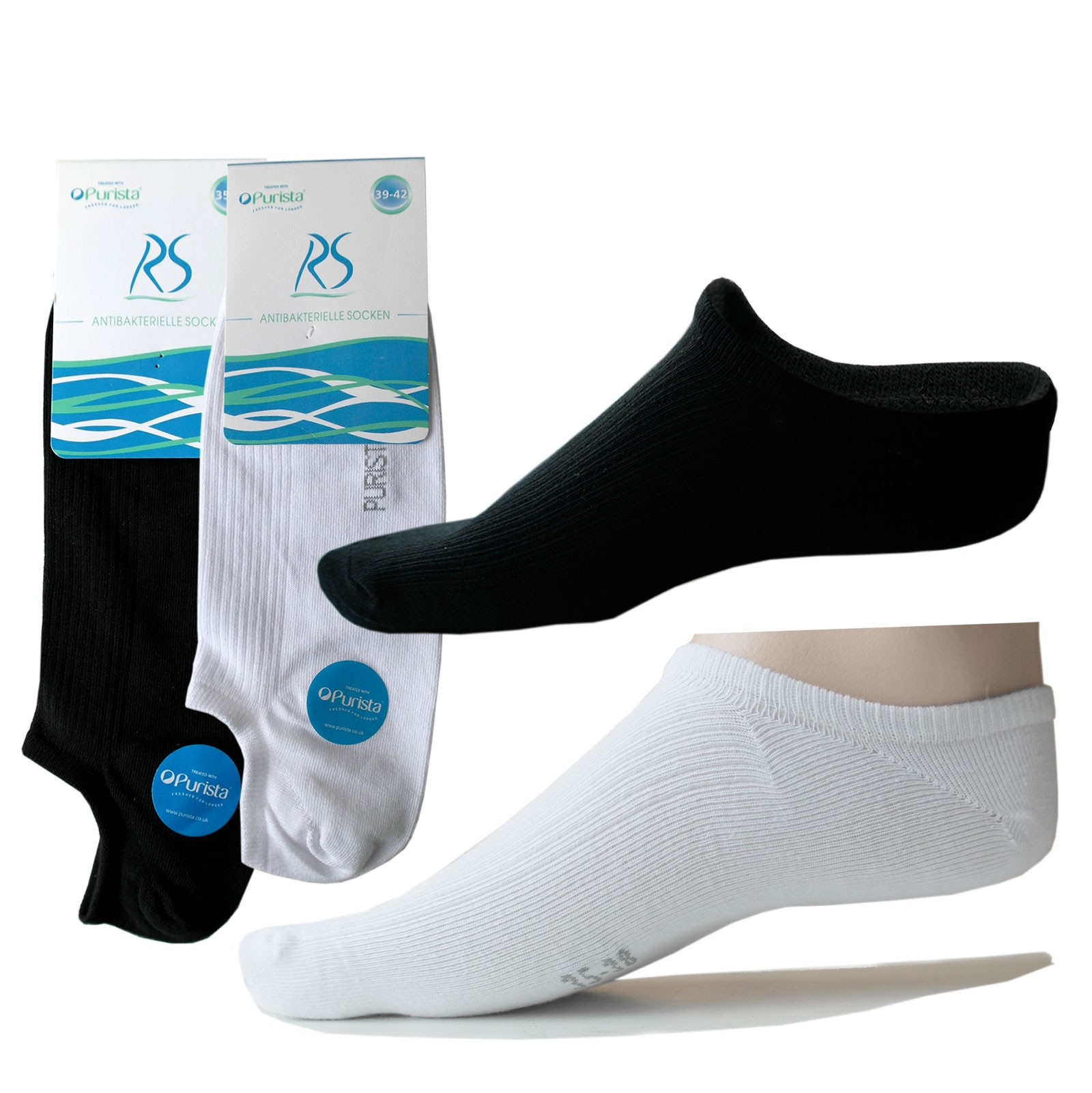 Antibakterielle offene Füßlinge Socken für Damen & Herren in schwarz, weiss