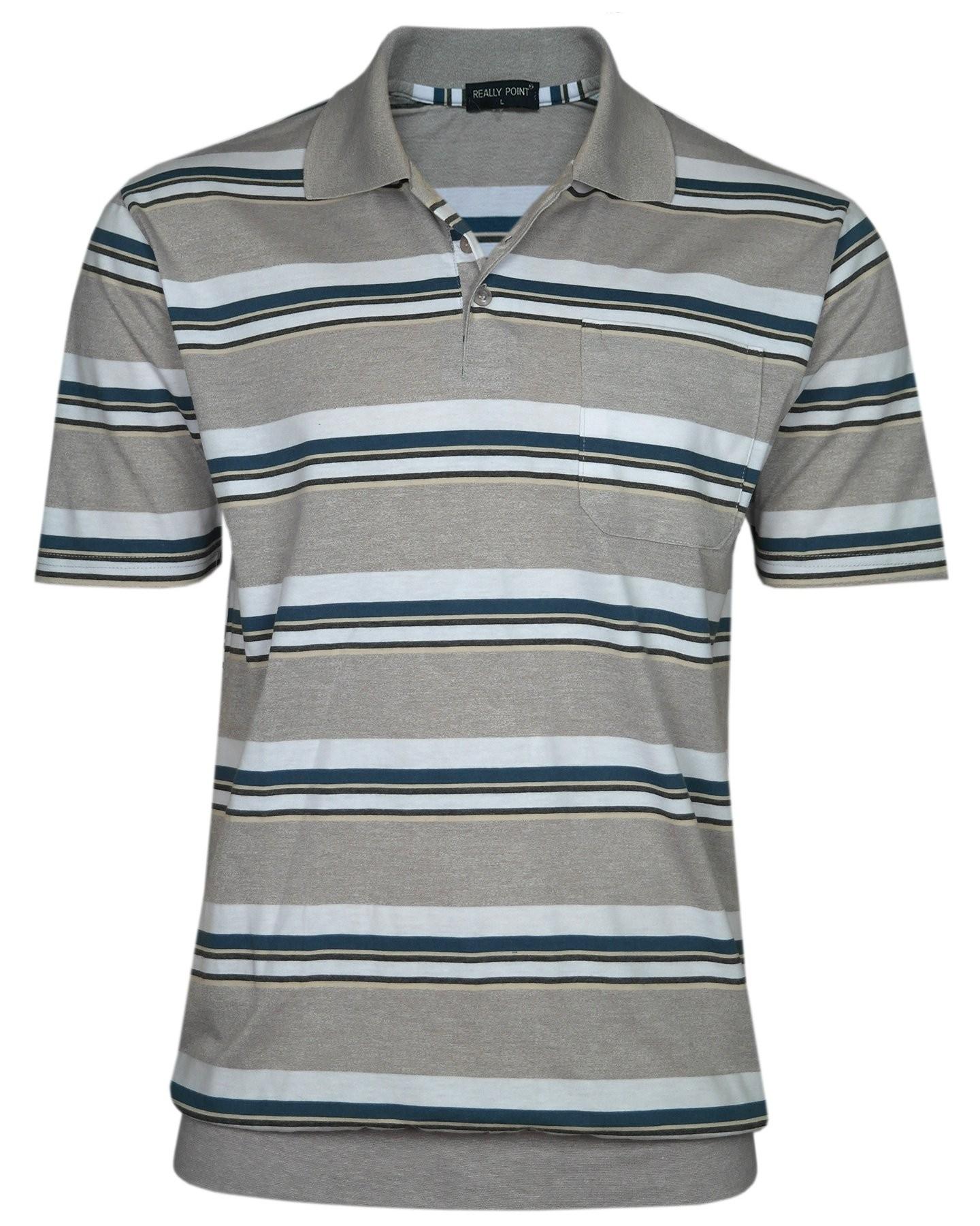 Jersey Blousonshirts im Ringeln-Look - Beige