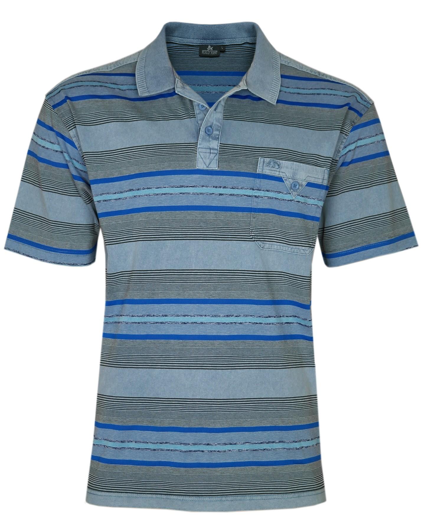 Herren Premium Poloshirts mit kurzer Knopfleiste - Blue