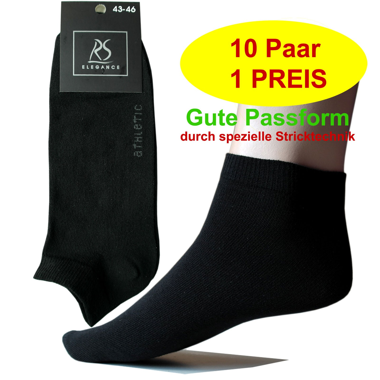 10 Paar ATHLETIC Herren Sneakersocken Schwarz