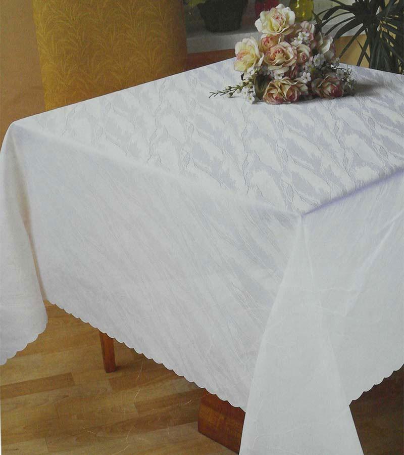 Ansicht zu Damast Tischdecke eckig - weiss