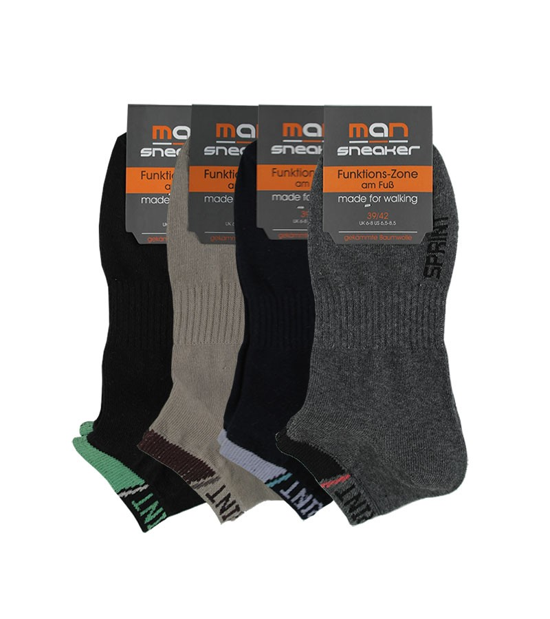 MAN Sneakersocken, Herrensocken im 4er Pack 39-42