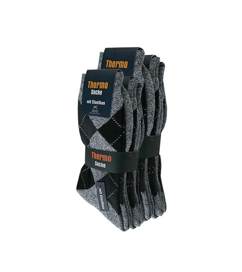 Thermo Socken Kariert mit Elasthan