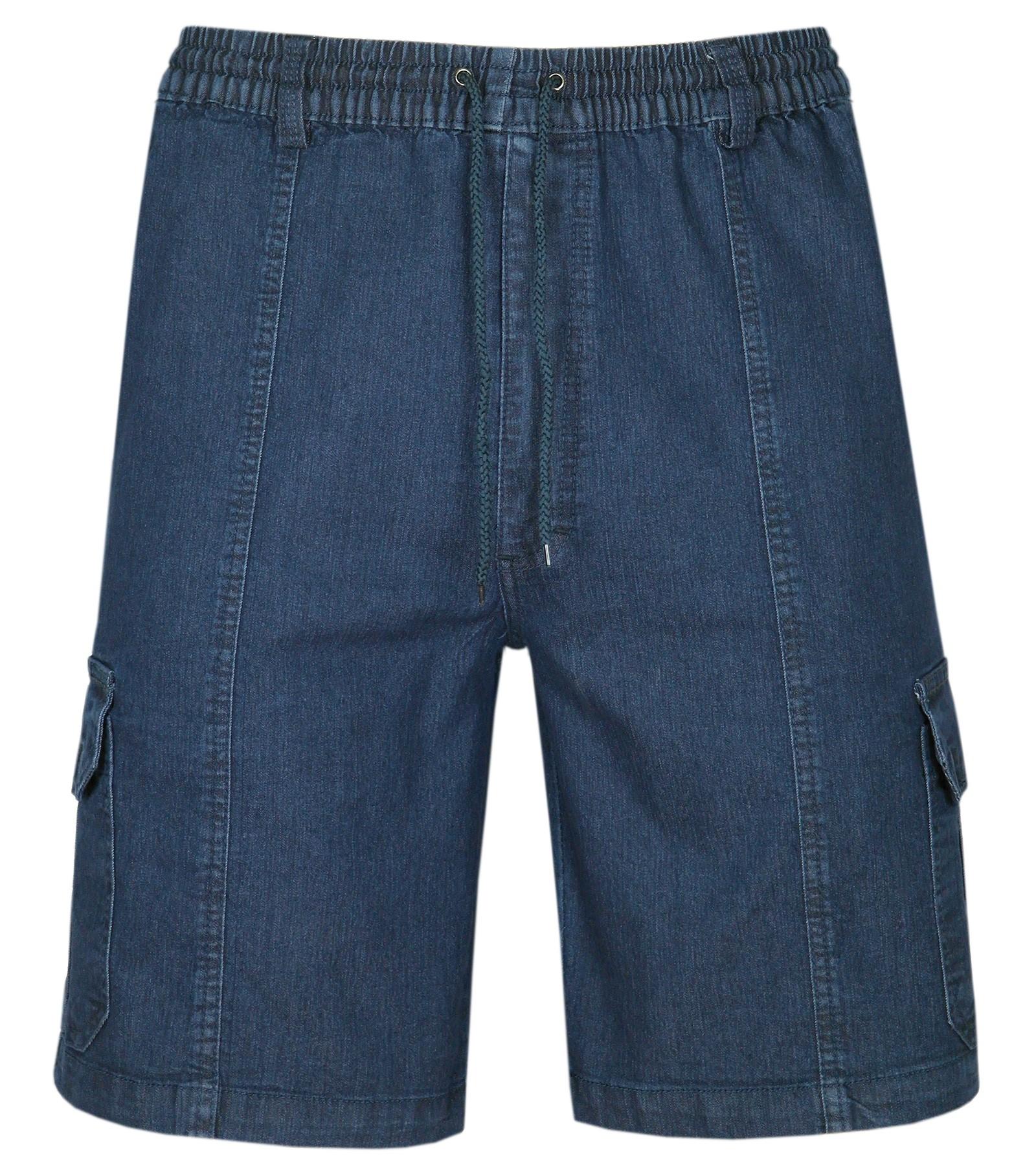 Herren Schlupf-Jeans Shorts kurze Hose aus Stretch Baumwolle - Dark Blue