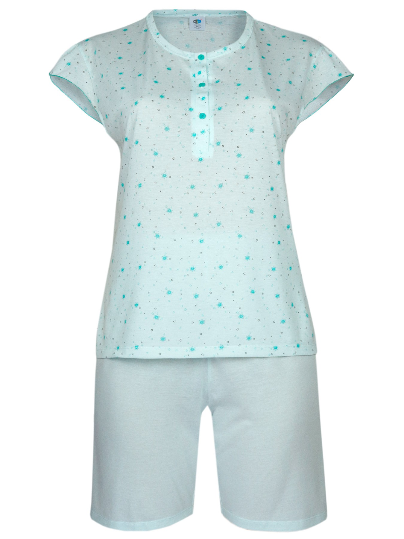 Damen Kurz-Pyjama, Shorty Set 100% Baumwolle - türkis