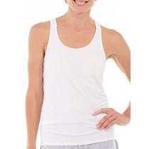 4 Damenunterhemden 100% Baumwolle breite Träge ohne Spitze - Weiss