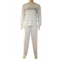 Herren Pyjama Schlafanzug lang 100% Baumwolle V-Neck