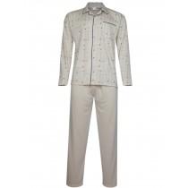 Herren Pyjama - langer Schlafanzug in Jersey Qualität - Beige
