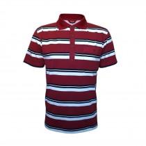 Kurzarm Poloshirts, Herren Polohemden im Ringelook Baumwollmischung M/3XL Bordeaux
