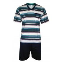 urzer Herren Pyjama/Schlafanzug im Ringellook - dunkelblau