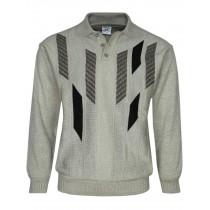 Herren Polo-Pullover mit kurzer Knopfleiste - Beige