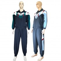 Herren Mikrofaser Sport- Trainingsanzug, gefütterte Jogginganzug mit Bündchen Navy grau