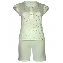 Damen Kurz-Pyjama, Shorty Set 100% Baumwolle - Zitronengelb