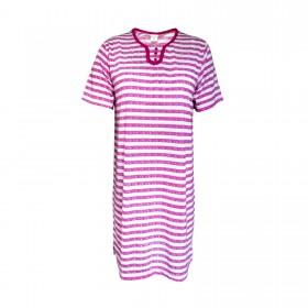 Kurzarm Damen Nachthemd aus 100% Baumwolle im Ringellook 6 Farben