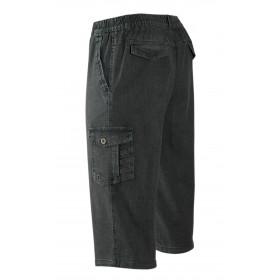T-MODE Herren Shorts Stretch Capri Jeans mit Cargo Taschen