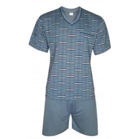 FORMEN - Kurzer Herrenschlafanzug, Pyjama mit Shorty 100% Baumwolle