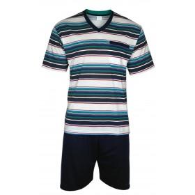 Kurzer Herren Schlafanzug im Ringellook Shorty Pyjama 100% Baumwolle