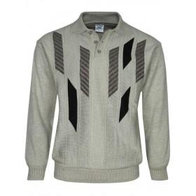 Herren Polo-Pullover mit kurzer Knopfleiste