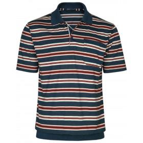 Herren Poloshirts Jersey Blousonshirts im Ringeln-Look
