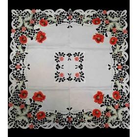 Mitteldecken, Tischbänder und Tischdeckchen mit bunten Blumen